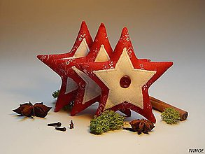 Dekorácie - Vianočné ozdôbky - červeno biele - hviezdička - 8562806_