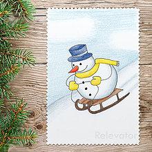 Kresby - ☃ Snehuliak vianočný obrázok - sánkovačka - 8560815_