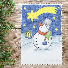 Kresby - ☃ Snehuliak vianočný obrázok - darček a stromček - 8560818_