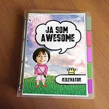 """Papiernictvo - Ja som awesome ,,všetkozošit"""" (lúka - cyklamenová) - 8562577_"""