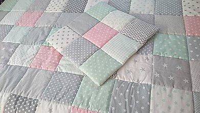 Úžitkový textil - Patchwork deka - Grey mint losos - 8568670_