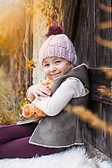 Detské čiapky - Jesenno - zimná čiapočka s fialovým brmbolcom - 8568516_