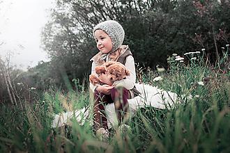 Detské čiapky - Jesenno - zimný čepček VLNENÝ SIVKO - 8568804_