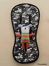 Textil - Bugaboo Seat Liner Camouflage Black ARMY by Diesel Denim/ Podložka do kočíka MASKÁČ na mieru - 8564860_
