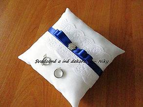 Prstene - Vankúšik pod obrúčky (Modrá) - 8567417_