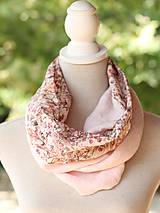 Šály - Dámsky elegantný ružový kvetinový nákrčník z ľanu - 8565637_