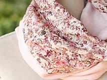 Šály - Dámsky elegantný ružový kvetinový nákrčník z ľanu - 8565639_