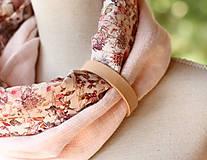 Šály - Dámsky elegantný ružový kvetinový nákrčník z ľanu - 8565641_