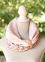 Šály - Dámsky elegantný ružový kvetinový nákrčník z ľanu - 8565642_