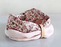 Šály - Dámsky elegantný ružový kvetinový nákrčník z ľanu - 8565646_