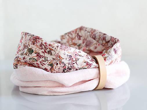Dámsky elegantný ružový kvetinový nákrčník z ľanu