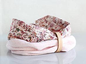 Šály - Dámsky elegantný ružový kvetinový nákrčník z ľanu - 8565645_