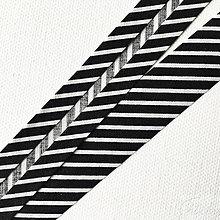 Galantéria - čierny pruhovaný šikmý prúžok, 100 % bavlna, šírka 20 mm, cena za 1 m - 8564964_