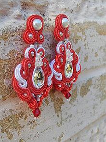 Náušnice - Červeno-biele náušničky Stefi, na svadbu - 8567152_