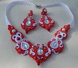 Sady šperkov - Červeno-biely svadobný set - 8567392_