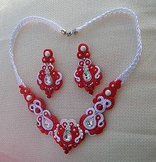 Sady šperkov - Červeno-biely svadobný set - 8567394_
