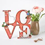 Nápis LOVE always - červeno-hnedý so smotanovo-bielou