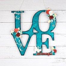 Dekorácie - Nápis LOVE always na stenu tyrkysovo - červeno - biely - 8565352_