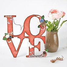 Dekorácie - Nápis LOVE always - červeno-hnedý so smotanovo-bielou - 8565380_