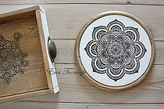 Dekorácie - Okrúhla drevená Mandala M - 8568811_