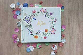 Papiernictvo - Fotoalbum klasický, polyetylénový potlačený obal s kvetinovým venčekom (alebo aj Marhuľková veselica vo veľkom) - 8568435_