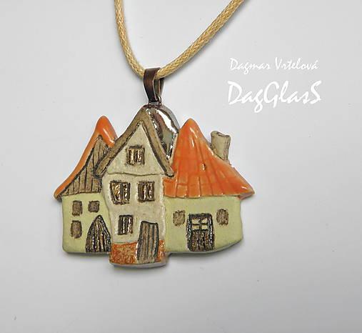 keramický šperk ...Dedinka v údolí...