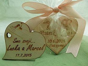 Darčeky pre svadobčanov - Svadobné srdiečko magnetka - 8565914_