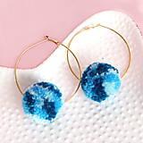 Náušnice - Brmbolcové náušnice - modré, mosadz - 8565291_