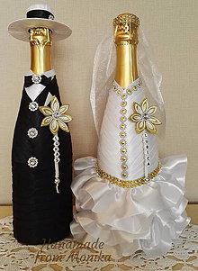 Darčeky pre svadobčanov - Svadobné návleky na fľaše s menom - 8567526_