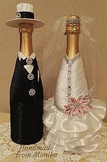 Nádoby - Svadobné gratulačné návleky na fľaše - set - 8567690_