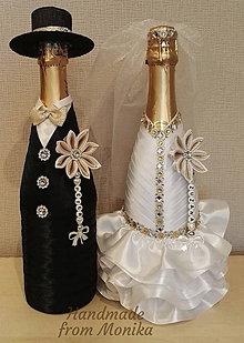 Nádoby - Svadobné gratulačné návleky na fľaše - set s menom - 8567722_