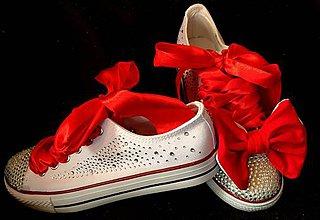 Obuv - Topánky s červenou mašľou - 8568022_