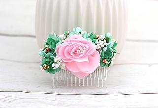 Ozdoby do vlasov - Hrebienok ružovo-zelený ruža - 8565678_