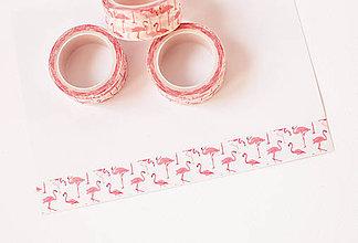 """Papier - WASHI / papierová páska na tvorenie """" plameniaky ružové"""" - 8568664_"""