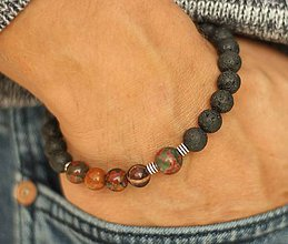 Šperky - Pánsky náramok láva, jaspis - 8566026_