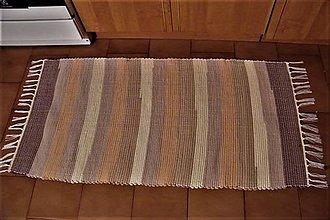 Úžitkový textil - Tkaný koberec hnedý, pásikavý 2 - 8568045_