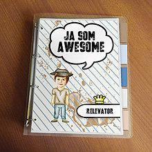 "Papiernictvo - Ja som awesome ,,všetkozošit"" (pásiky - klobučník) - 8567172_"
