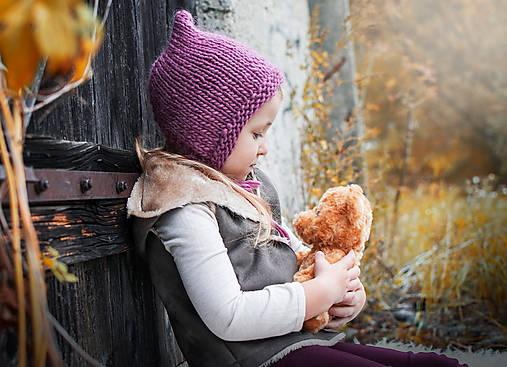 Detské čiapky - Jesenno - zimný čepček pixie  - 8568916_