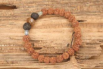 Šperky - Pánsky náramok rudraksha, láva a achát - 8569845_