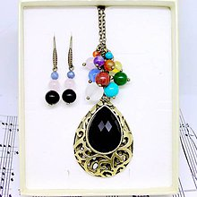 Sady šperkov - Multi-gemstone Chakra & Tear Bronze Necklace and Earrings / Čakrový náhrdelník s príveskom slzy a náušnice /0493 - 8569903_