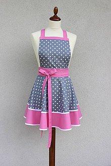 Iné oblečenie - zástera Loli sivo-ružová - 8571679_