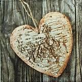 - S1039 - Servítky - srdce, drevo, wood, vintage, kôra, breza, juta - 8569598_