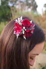Ozdoby do vlasov - Bordový elegantný hrebienok do vlasov - 8571838_