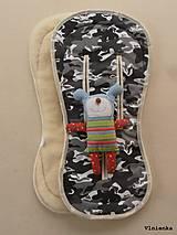 Textil - MERINO podložka do kočíka BUGABOO Bee / Buffalo/ Cameleon/ Donkey/ Joolz 100% WOOL Seat Liner Camouflage Black ARMY - 8568870_