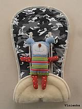 Textil - MERINO podložka do kočíka BUGABOO Bee / Buffalo/ Cameleon/ Donkey/ Joolz 100% WOOL Seat Liner Camouflage Black ARMY - 8568872_