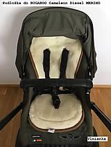 Textil - MERINO podložka do kočíka BUGABOO Bee / Buffalo/ Cameleon/ Donkey/ Joolz 100% WOOL Seat Liner Camouflage Black ARMY - 8568882_