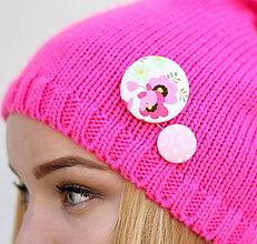 Drobnosti - Ružová Barbie gombíková dvojka - 8572397_