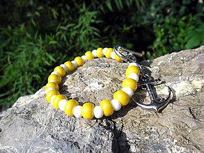 Náramky - Letný svieži žlto-biely - 8571677_