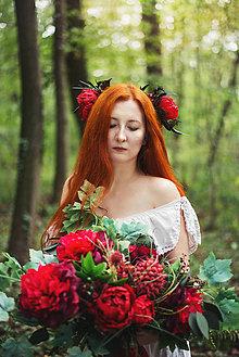 Kytice pre nevestu - Rouge - Kvetinový svadobný set - 8571468_