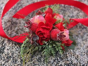 Náramky - květy a rudé bobule - 8571483_
